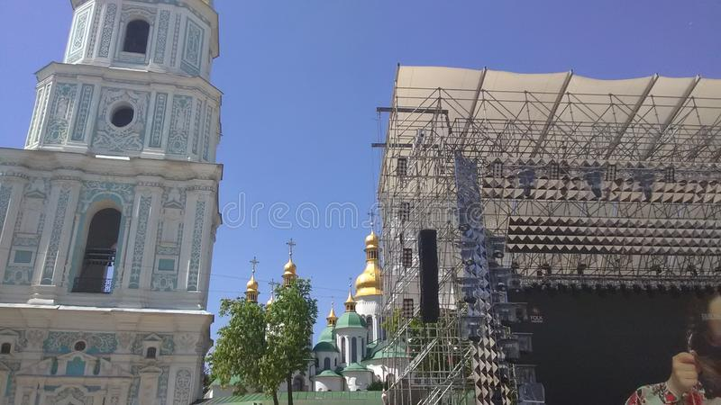 Eurovision 2017 Song Contest - Kiev, Ukraine. Stage of Eurovision Song Contest 2017 in Kiev, Ukraine. Location: Fan Zone at Sofiyivska Square royalty free stock photography