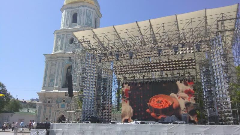 Eurovision 2017 Song Contest - Kiev, Ukraine. Stage of Eurovision Song Contest 2017 in Kiev, Ukraine. Location: Fan Zone at Sofiyivska Square stock image