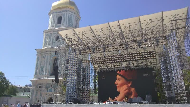 Eurovision 2017 Song Contest - Kiev, Ukraine. Stage of Eurovision Song Contest 2017 in Kiev, Ukraine. Location: Fan Zone at Sofiyivska Square royalty free stock photo