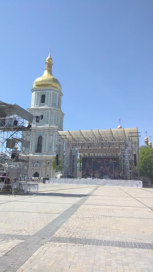 Eurovision 2017 Song Contest - Kiev, Ukraine. Stage of Eurovision Song Contest 2017 in Kiev, Ukraine. Location: Fan Zone at Sofiyivska Square stock images