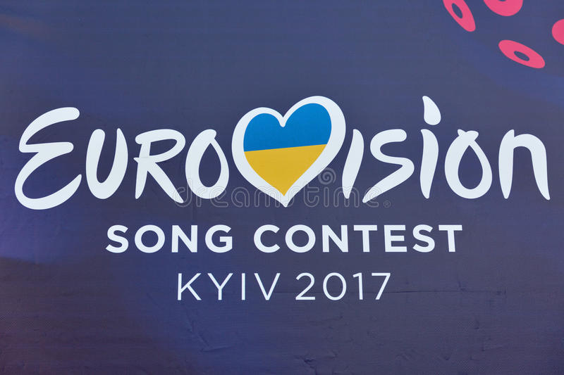 Eurovision Song Contest 2017 logo closeup outdoor in Kyiv, Ukraine. royalty free stock photo