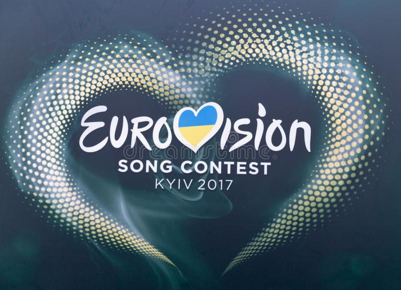 Eurovision Song Contest 2017 logo closeup outdoor in Kyiv, Ukraine. royalty free stock photography