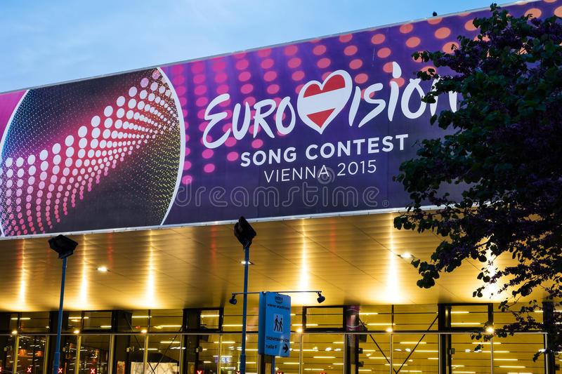 Eurovision Song Contest 2015 in Vienna, famous european music co. Vienna, Austria - Mai 05, 2015: the Wiener Stadthalle in Vienna is prepared to host the stock photo