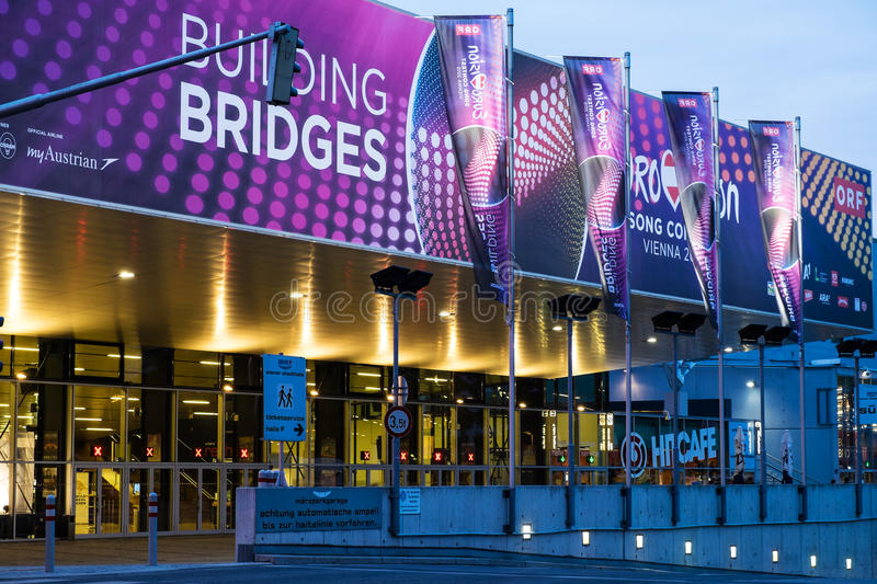 Eurovision Song Contest 2015 in Vienna, famous european music co. Vienna, Austria - Mai 05, 2015: the Wiener Stadthalle in Vienna is prepared to host the royalty free stock photography