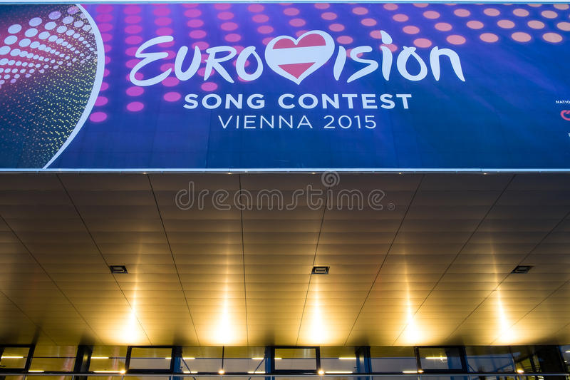 Eurovision Song Contest 2015 in Vienna, famous european music co. Vienna, Austria - Mai 05, 2015: the Wiener Stadthalle in Vienna is prepared to host the stock images