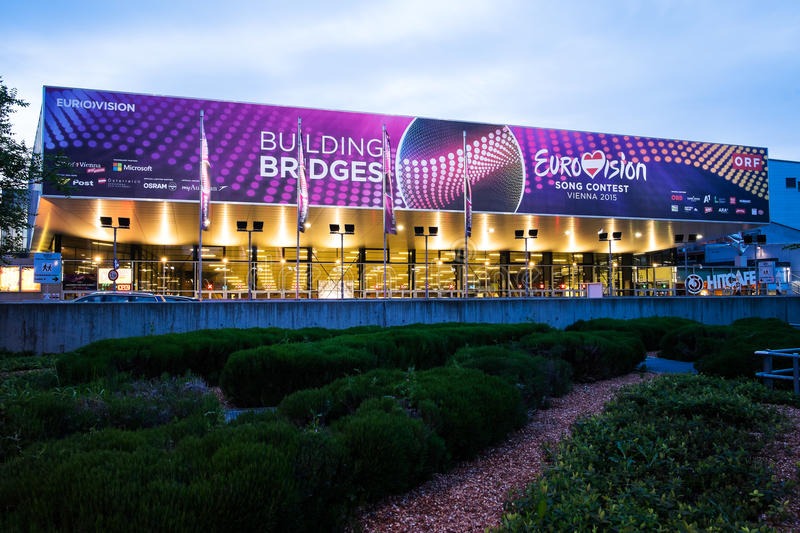 Eurovision Song Contest 2015 in Vienna, famous european music co. Vienna, Austria - Mai 05, 2015: the Wiener Stadthalle in Vienna is prepared to host the stock photography