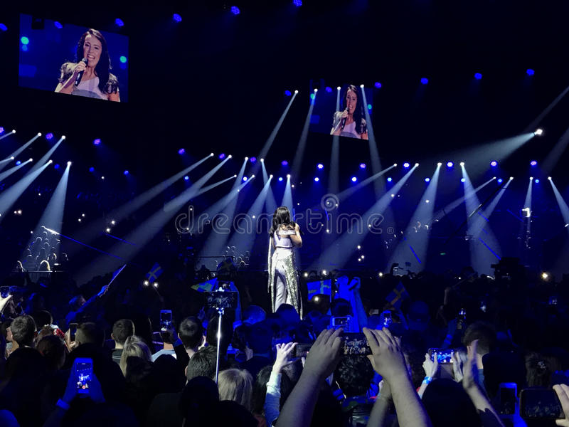 Eurovision in Ukraine, Kyiv. 05.13.2017. Editorial. Jamala sinsing 'I believe in U' in the Interval Act at the Grand Final royalty free stock image