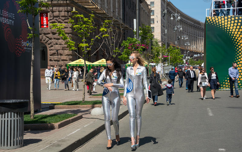 Eurovision Village. Ukraine, Kyiv. 05.05.2017. Editorial. Girls. Eurovision Village in the Kyiv in Ukraine. 05.05.2017. Editorial. Girls in shiny suits royalty free stock images
