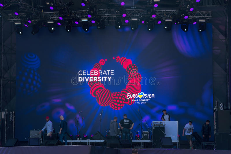 Eurovision Village. Ukraine, Kyiv. 05.05.2017. Editorial.The mus. Eurovision Village in the Kyiv in Ukraine. 05.05.2017. Editorial. The musicians rehearse on royalty free stock photography