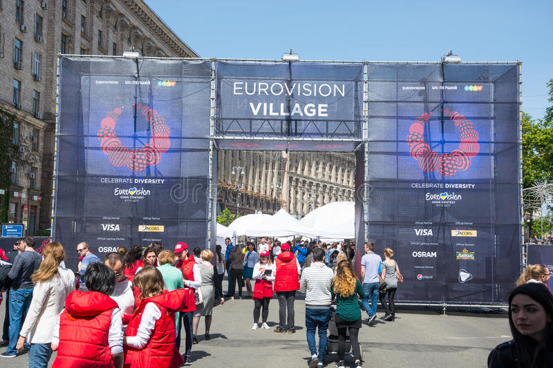Eurovision Village. Ukraine, Kyiv. 05.05.2017. Editorial. People. Eurovision Village in the Kyiv, Ukraine. 05.05.2017. Editorial. People are walking along royalty free stock images