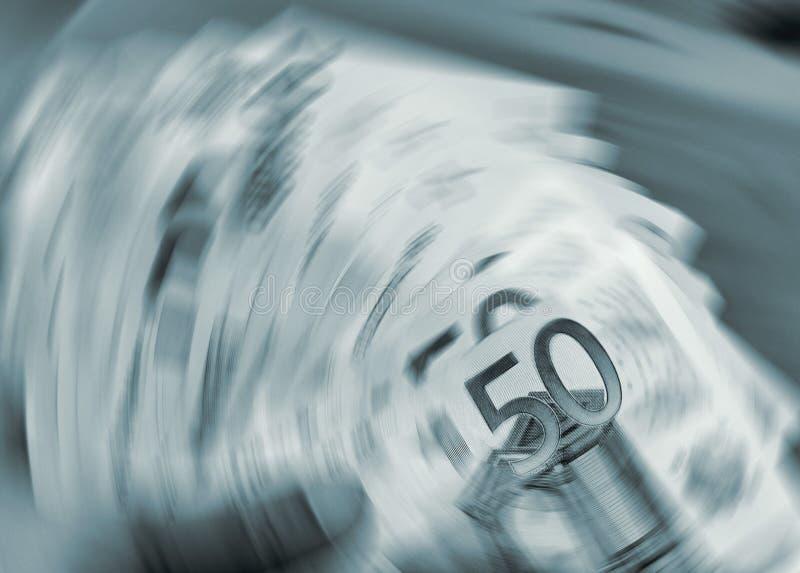 Eurowährung in einer Drehbeschleunigung stockbilder