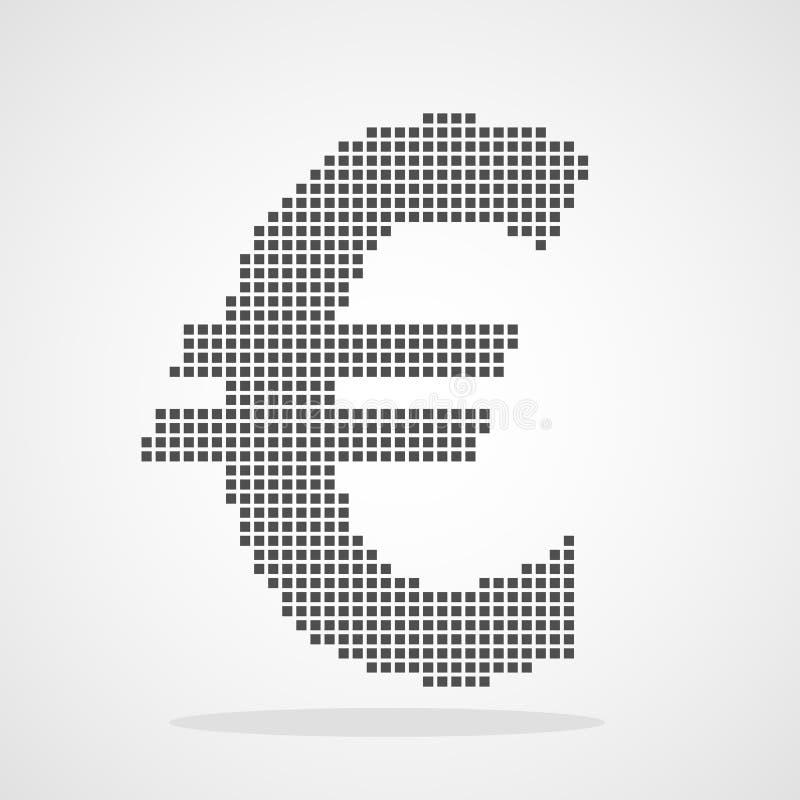 Eurowährungsikone im Pixelkunstentwurf Auch im corel abgehobenen Betrag stock abbildung