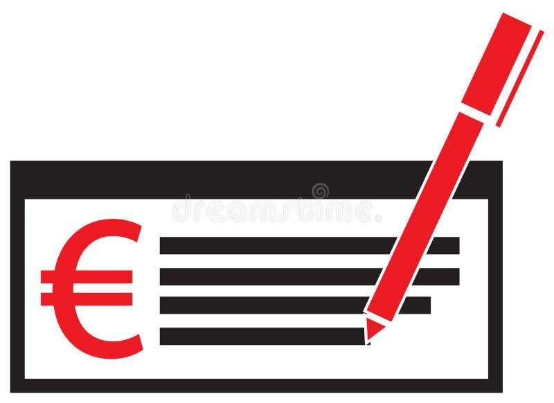 Eurowährungsikone oder -logo auf einem Gehaltsscheck oder einem Scheck stock abbildung