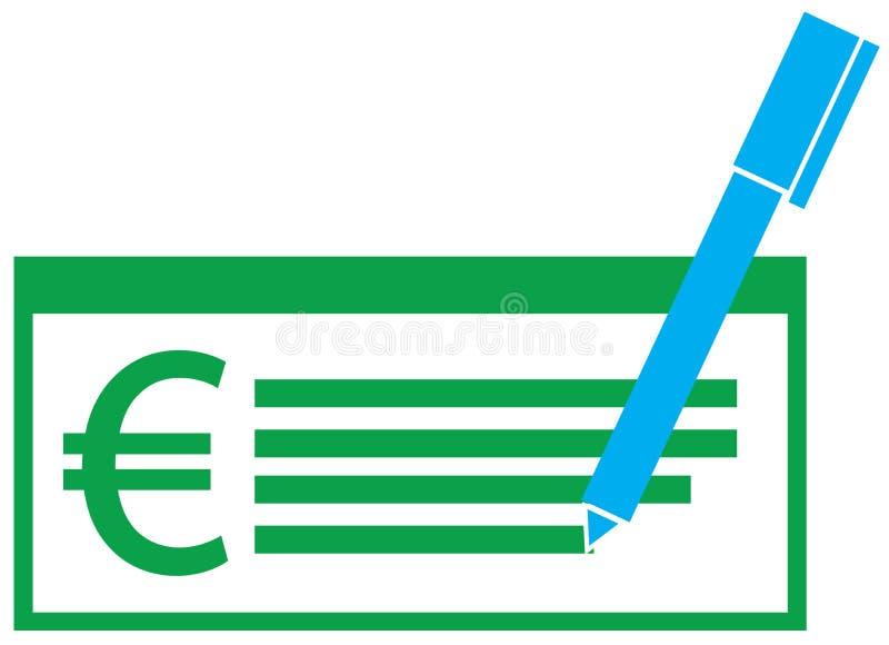 Eurowährungsikone oder -logo auf einem Gehaltsscheck oder einem Scheck vektor abbildung