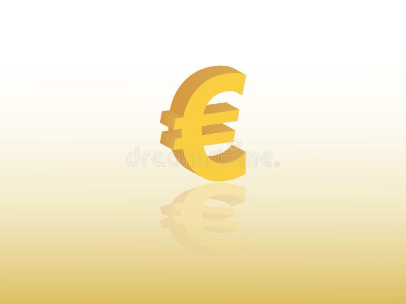 Eurowährungszeichenvektor der Europäischen Gemeinschaft unter Verwendung der goldenen Farbe auf gelbem Hintergrund lizenzfreie abbildung