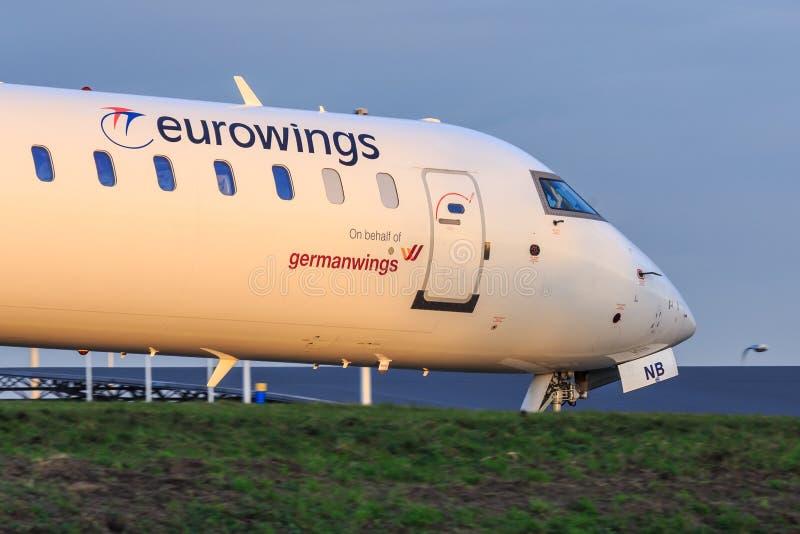 Eurowings CRJ900地方喷气机 库存图片
