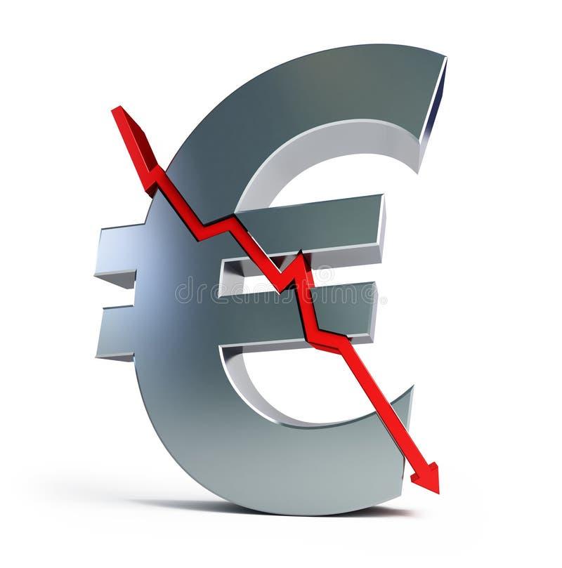 Eurozeichen ist gebrochene, Finanzkrise vektor abbildung