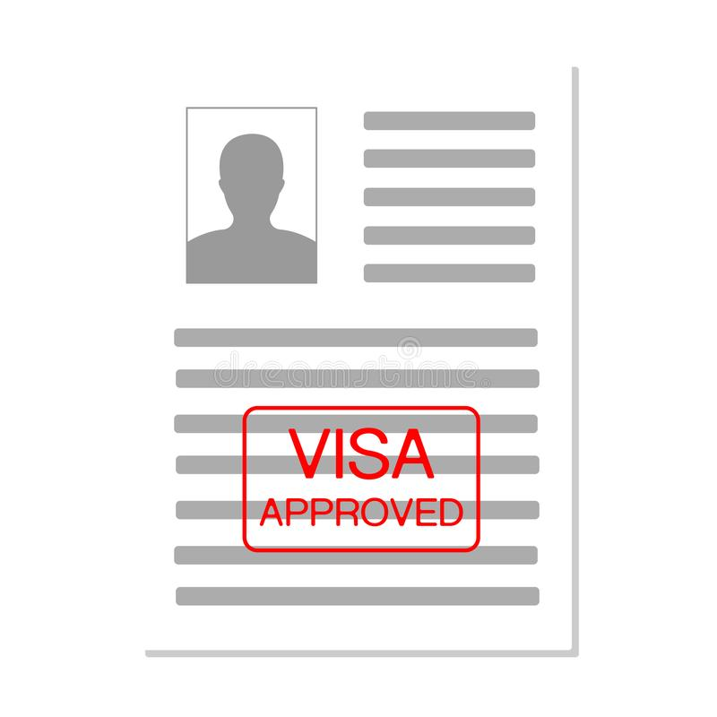 Eurozone Europe Visa Approved Stamp on Document. Travel Immigration Stamp. Approved paper document, red approved stamp royalty free illustration
