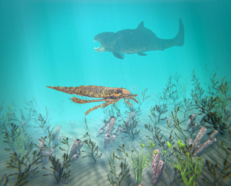Eurypterus And Dunkleosteus In The Devonian Sea. An illustration of Eurypterus exploring sea floor with Dunkleosteus lurking in the background. A typical scene stock illustration