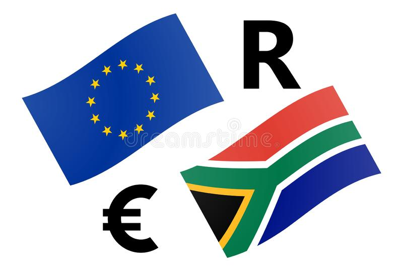 EURZAR forex currency pair vector illustration. EU and South African flag, with Euro and Rand symbol royalty free illustration