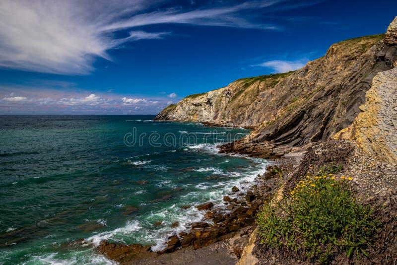 Euskadi de spain do mar da praia da paisagem fotos de stock royalty free