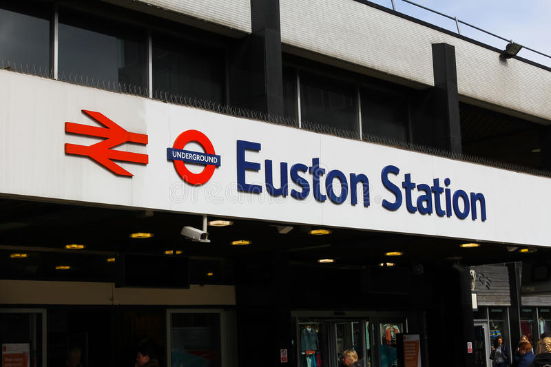 Euston Station. LONDON, UK 5TH APRIL 2014: A sign at the entrance to Euston Station in London royalty free stock images