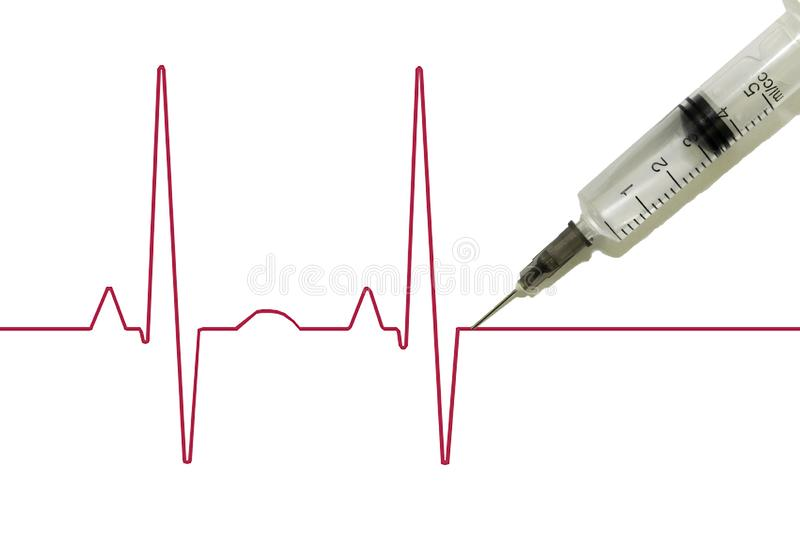 Euthanasia, drug addiction, schematic cardiogram of the pulse with a syringe stuck into it, after which death occurs royalty free stock photo