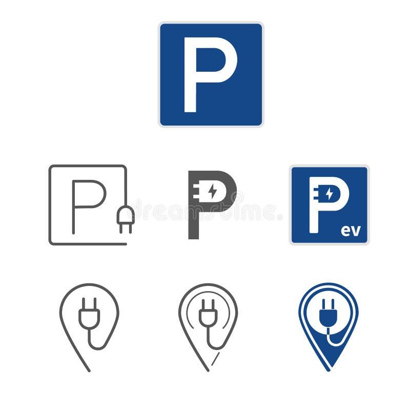 EV停车场标志和地图尖 被设置的平的象 皇族释放例证