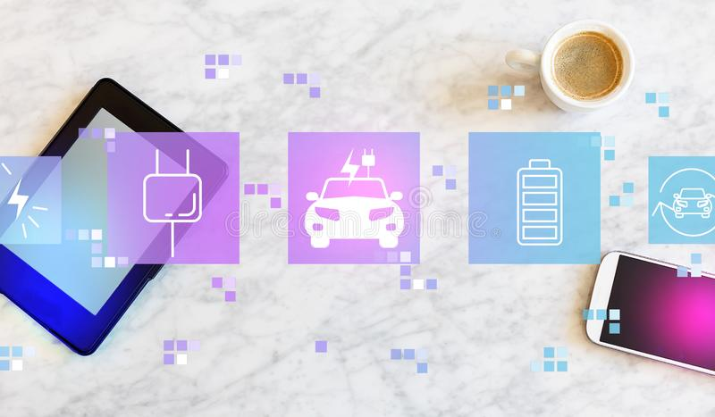 EV με την ταμπλέτα και το τηλέφωνο διανυσματική απεικόνιση