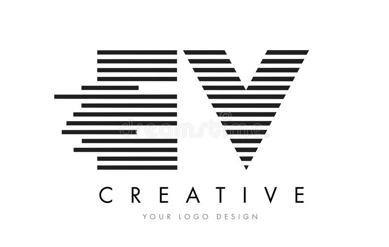 EV E V Zebra Letter Logo Design with Black and White Stripes vector illustration
