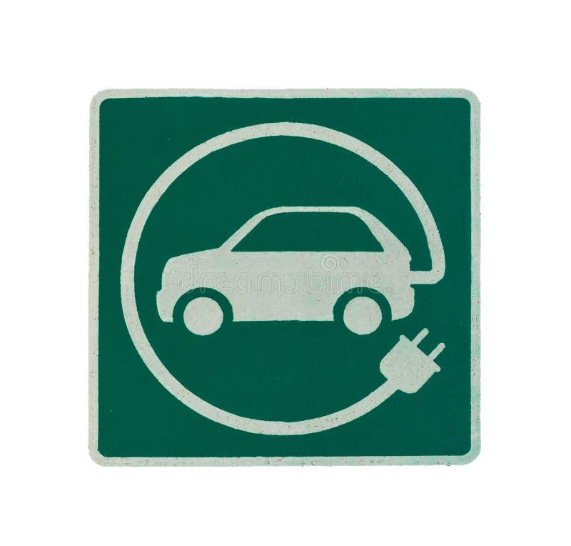 EV - elektrisch voertuig het laden postteken ` Het teken van E ` op asfalttextuur royalty-vrije stock afbeelding
