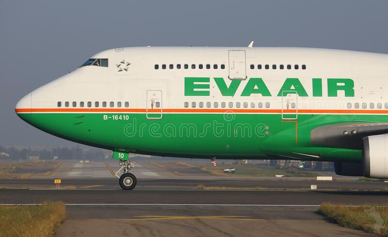 Eva Air airliner on runway stock photos