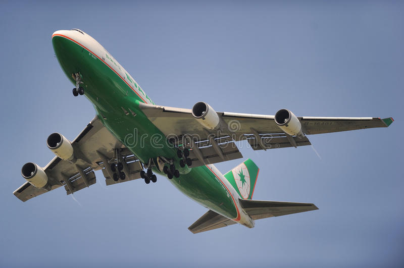 Eva Air Cargo. Boeing 747 of Eva Air Cargo approaching to land royalty free stock images