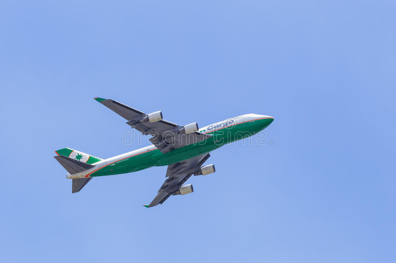 EVA Air 747 cargo jet. BANGKOK, THAILAND - AUGUST 25: EVA Air 747 cargo jet take off from Airport on August 25, 2015 in Bangkok, Thailand stock image