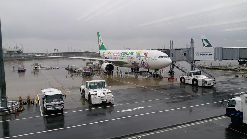 EVA Air Hello Kitty Aircraft images libres de droits