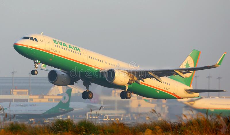 Eva Air plane takes off royalty free stock photography