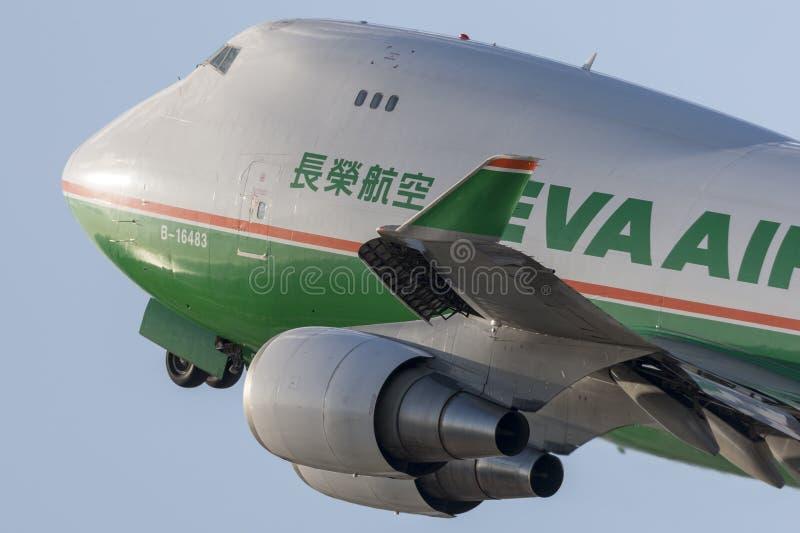EVA Airways EVA Air Cargo Boeing 747 avions de cargaison décollant de l'aéroport international de Los Angeles image libre de droits