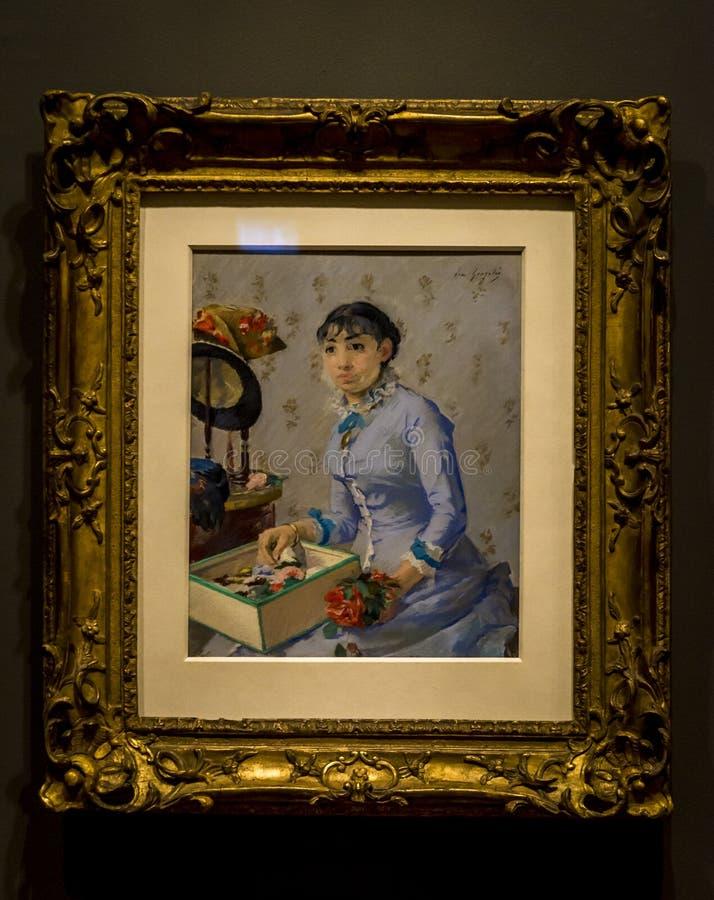 Eva Gonzales che dipinge The Milliner fotografia stock