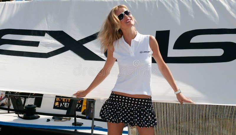 Eva Herzigova di modello ceca nell'isola di Mallorca fotografie stock libere da diritti