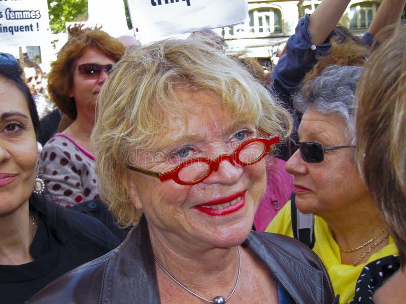 Eva Joly, Partido Verde, na demonstração feminista, foto de stock royalty free