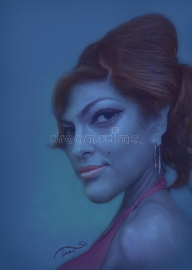 Eva Mendes Caricature royalty free stock photography