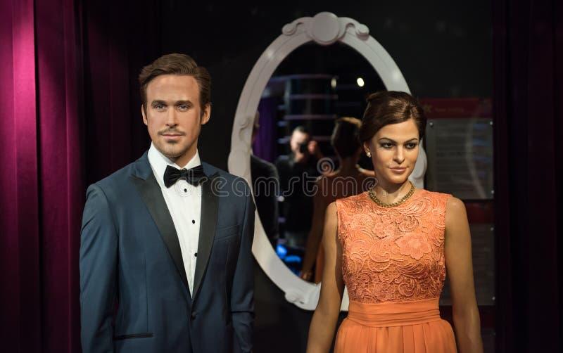 Eva Mendes y Ryan Gosling, escultura de la cera, señora Tussaud imágenes de archivo libres de regalías