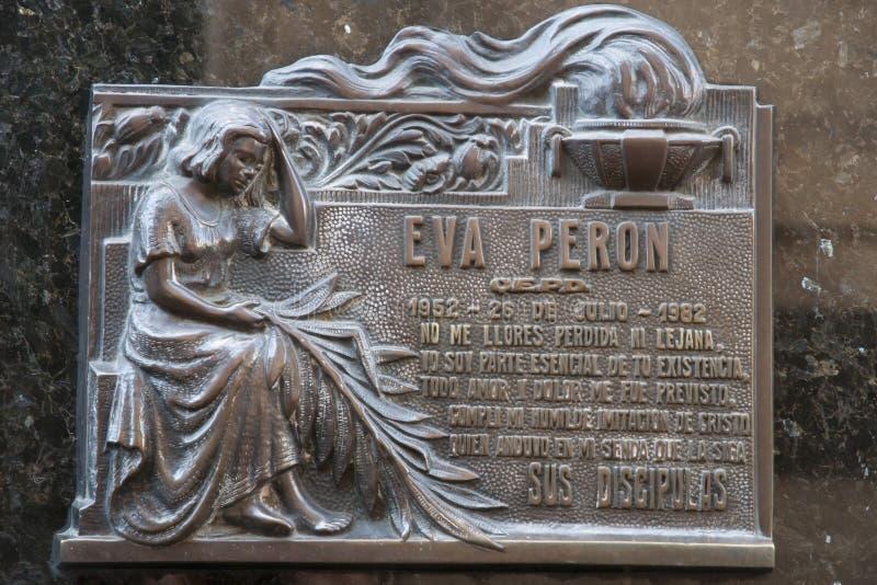 Eva Peron Grave Plaque - Buenos Aires - Argentina fotografering för bildbyråer