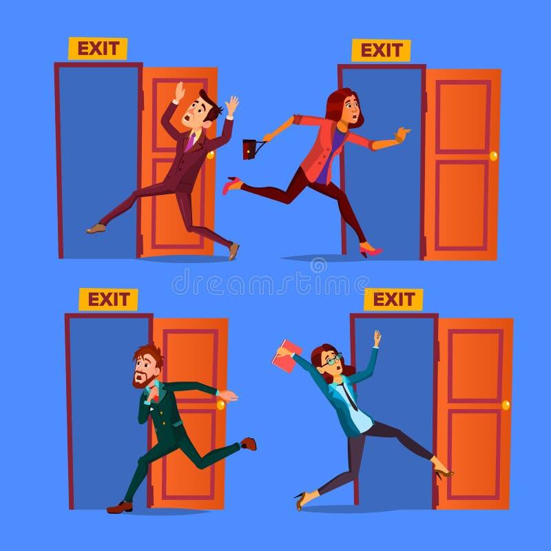 Evacuação do caráter ao vetor do grupo da saída do estar aberto ilustração stock