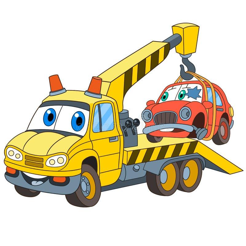 Evacuador do caminhão de reboque dos desenhos animados ilustração royalty free