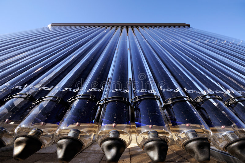 Evacuated tube solar collector. Low angle detail of evacuated tube solar collector stock photography