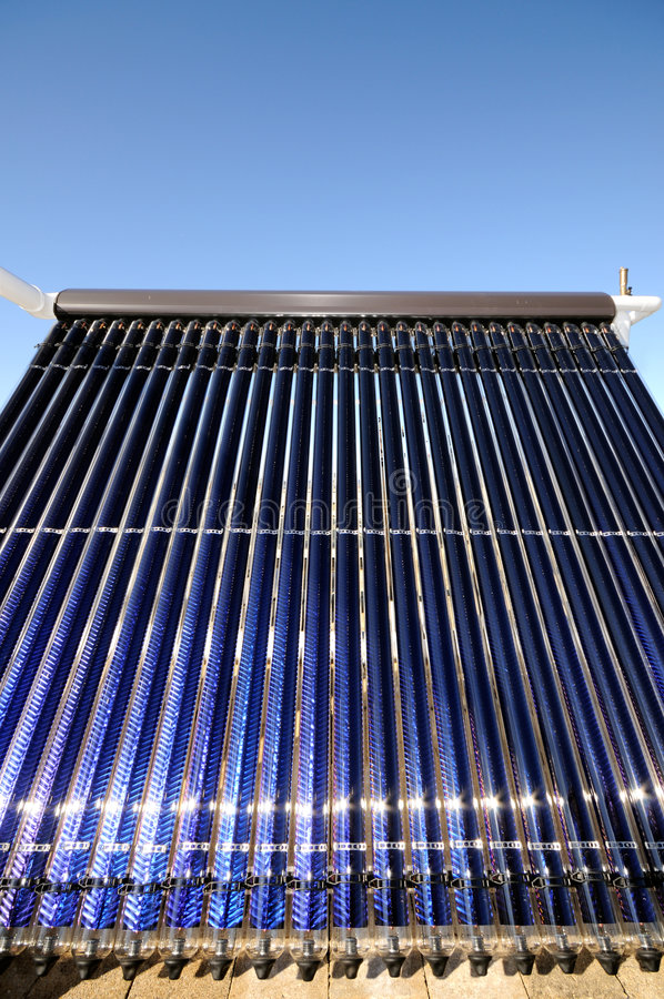 Evacuated tubes solar collector. Detail of evacuated tubes solar collector royalty free stock images