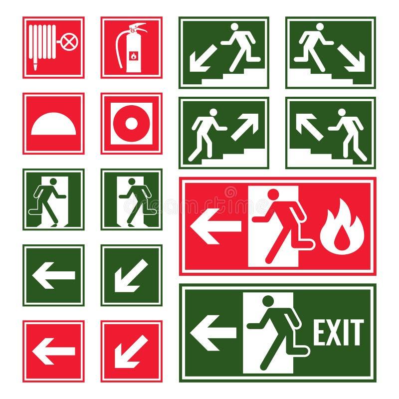 Evacuatie en noodsituatietekens in groene en rode kleuren stock illustratie