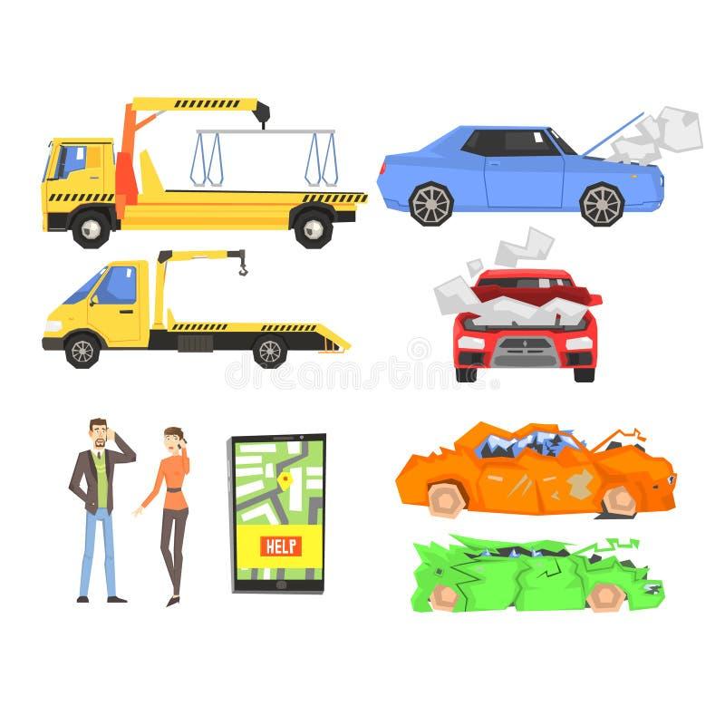 Evacuatie van de auto na de Verbrijzeling Infographic vector illustratie
