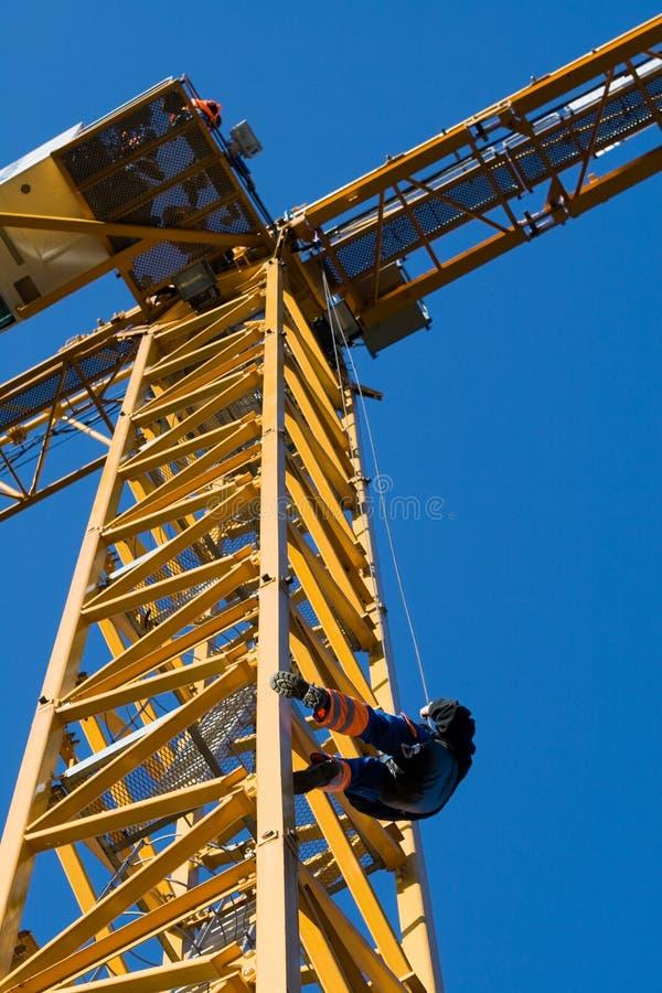 Evacuation from construct-crane stock photography